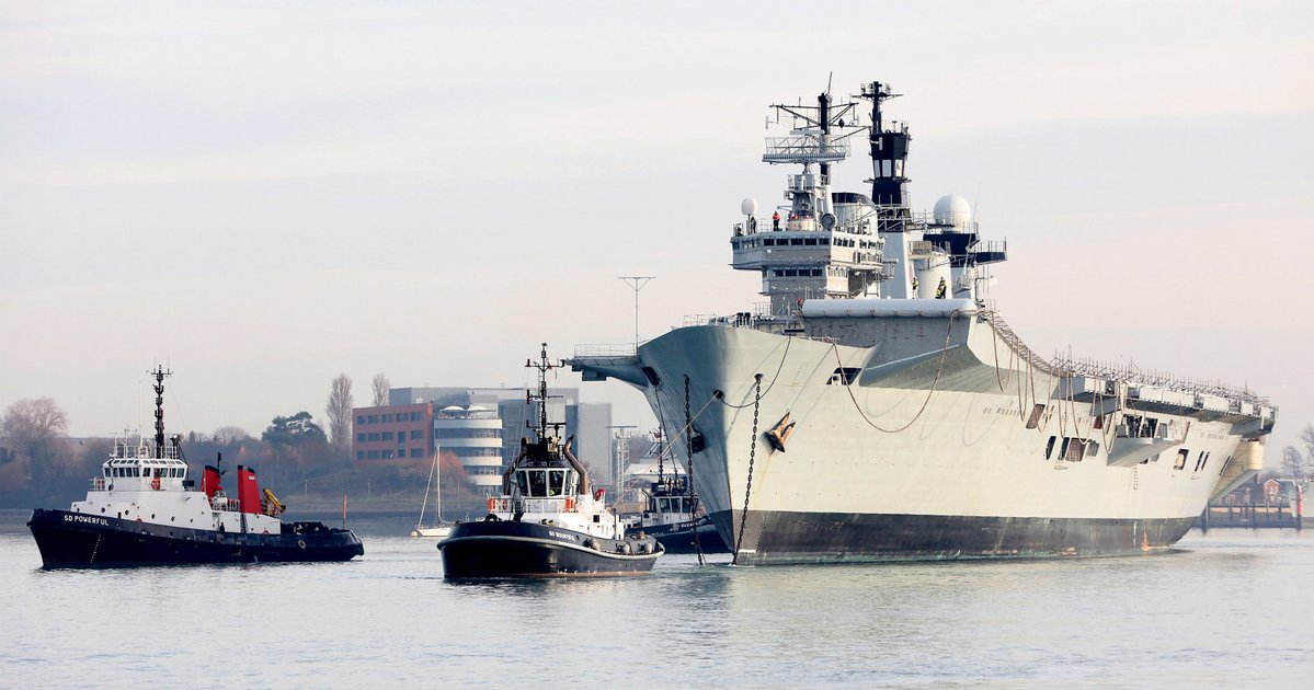 Former HMS Illustrious departs Portsmouth harbor, December 7, 2016. Photo: Royal Navy