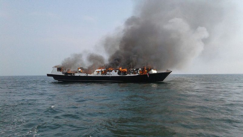 The passenger vessel Zahro Express pictured on fire, January 1, 2017.