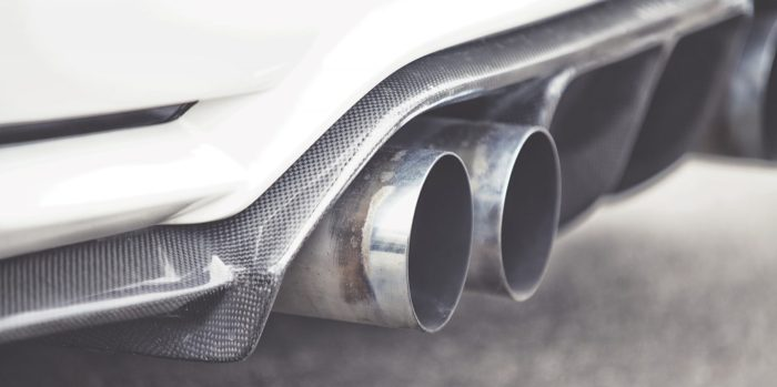 Double exhaust pipes of a modern sports car