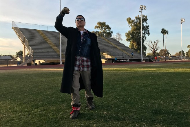 Frank Torres recreates Bender's triumphant moment on the football field.