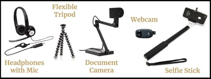 Each kit includes a headset with microphone, flexible tripod, document camera, webcam, and selfie stick.