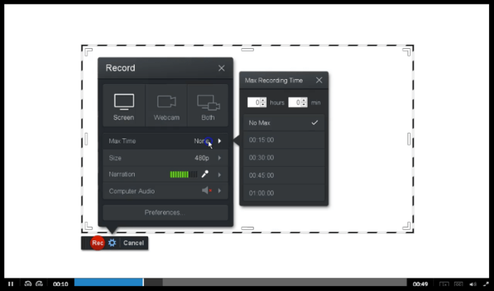 Screenshot of starting a screen recording session with Screencast-O-Matic.