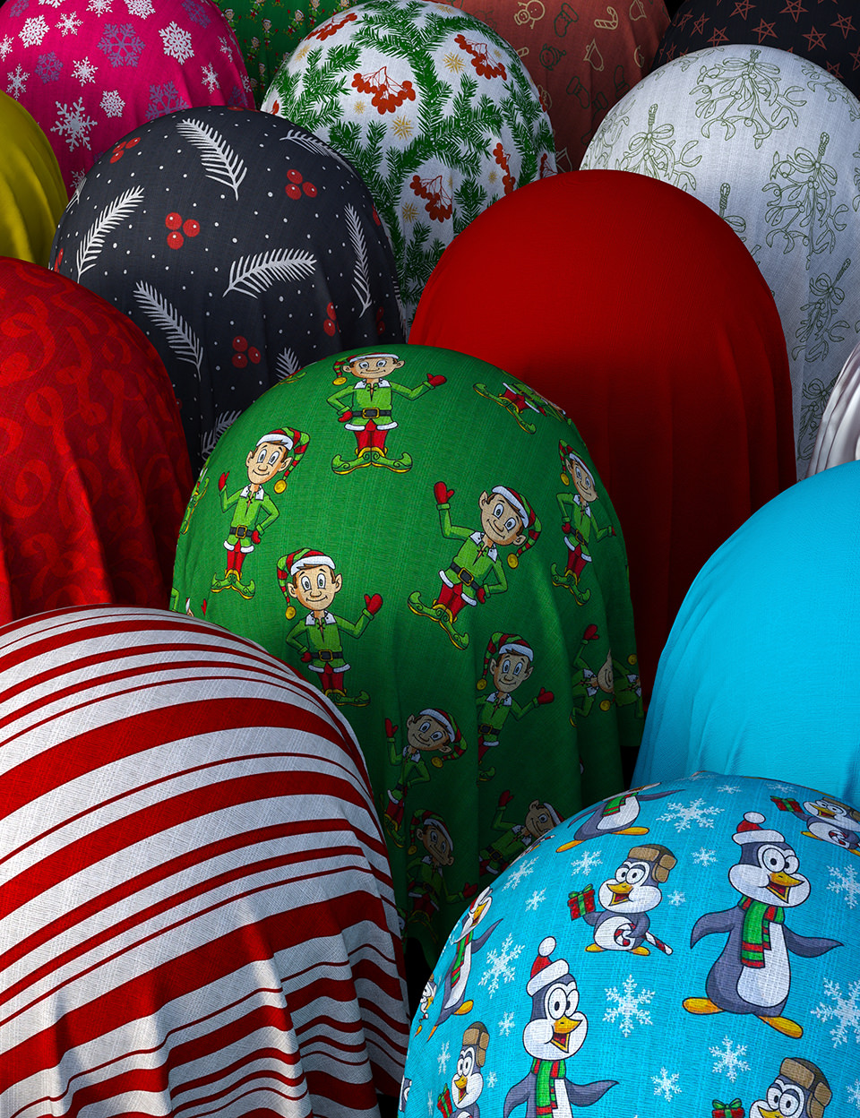Christmas Cotton Fabric Iray Shaders by: Nelmi, 3D Models by Daz 3D