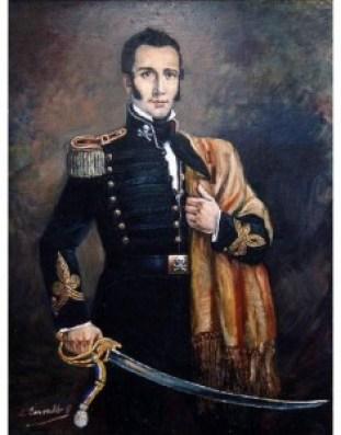 """Manuel Rodríguez vistiendo el uniforme de los """"Húsares de la Muerte"""", batallón que se distinguía por una calavera de paño blanco sobre negro, simbolizando la decisión de morir en la batalla antes que permitir el triunfo del enemigo."""