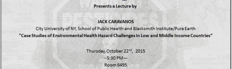 10/22: Jack Caravanos, DrPH on Environmental Health Hazard Challenges