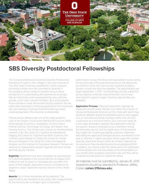 Ohio State SBS Diversity Postdoc Fellowship AU15