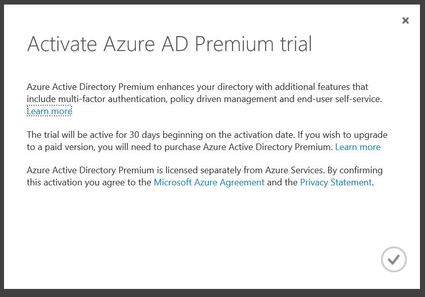 Activate Azure Active Directory Premium Trial