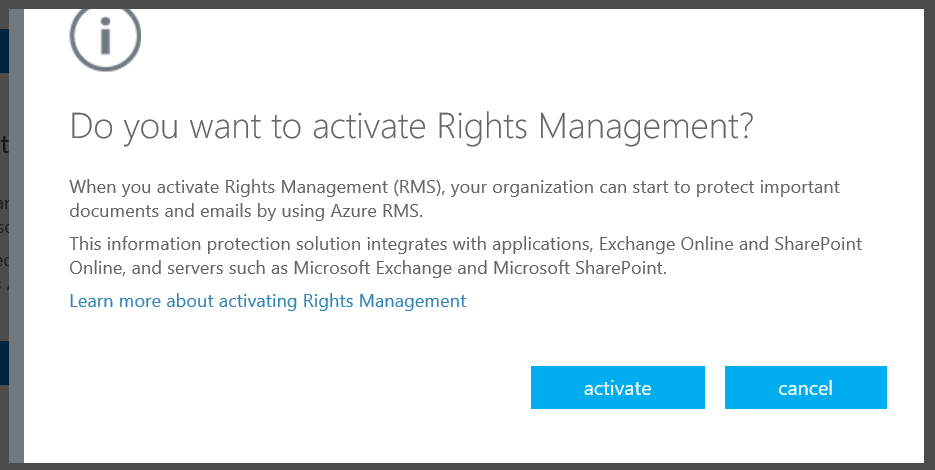 Click Activate To Enable Information Rights Management