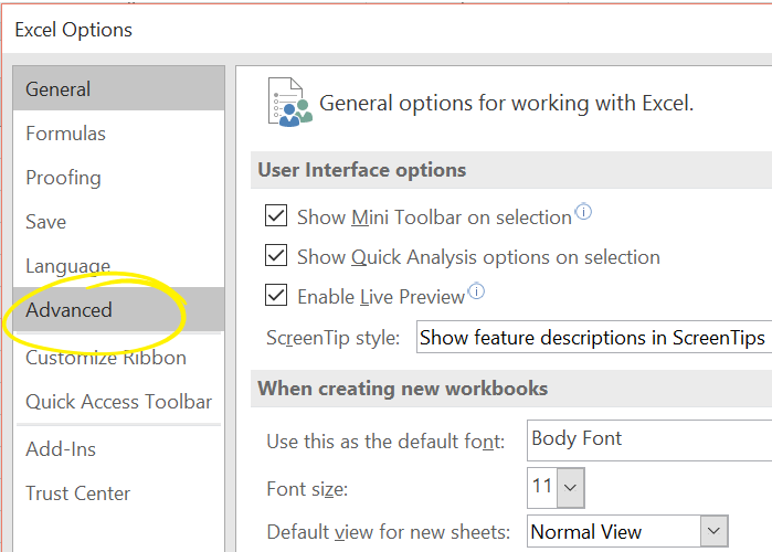 Click Advanced In Excel 2016 Options