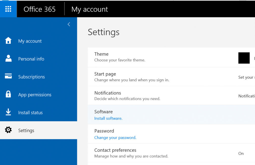 Click Install Software Under Office 365 Settings