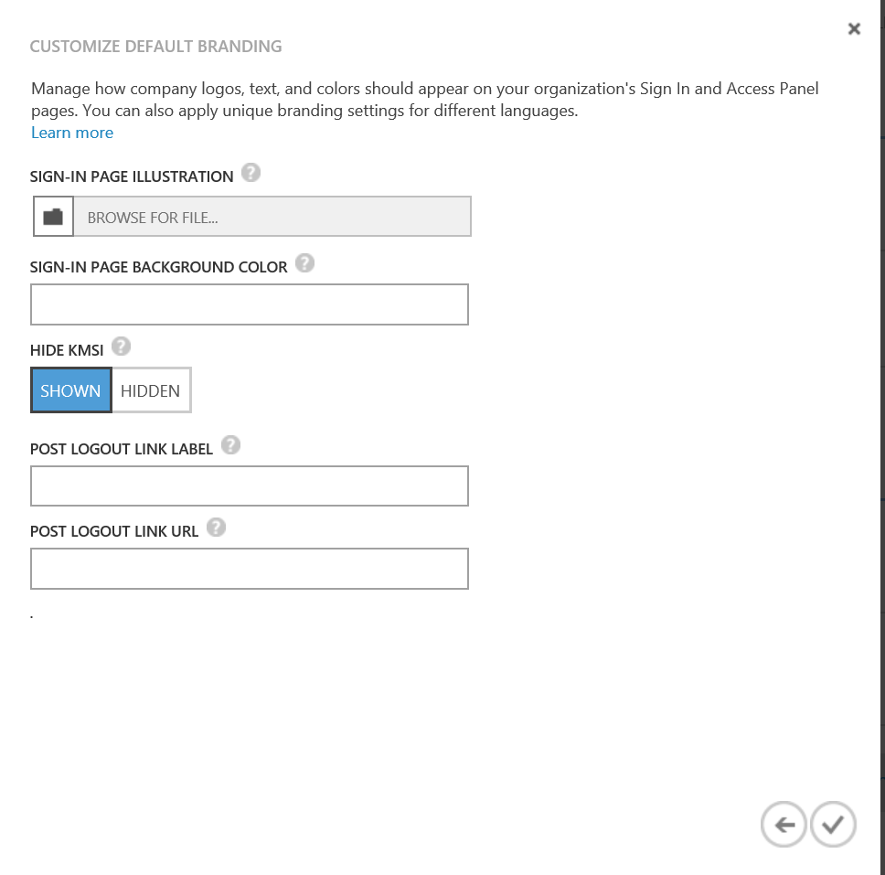 Customise Second Page OfOffice 365 Default Branding