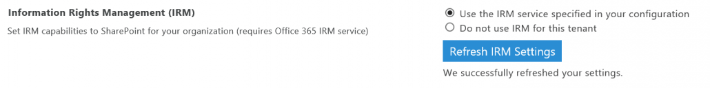 Refresh Your IRM Settings