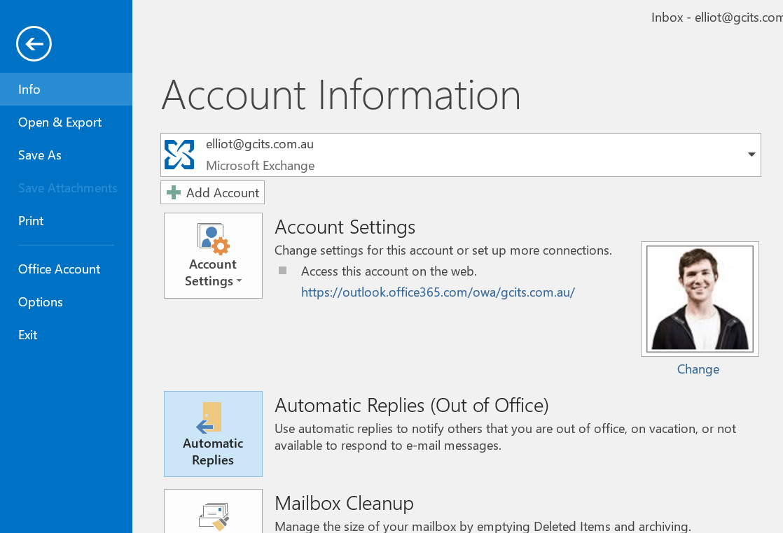 Setup Automatic Reply for Office 365