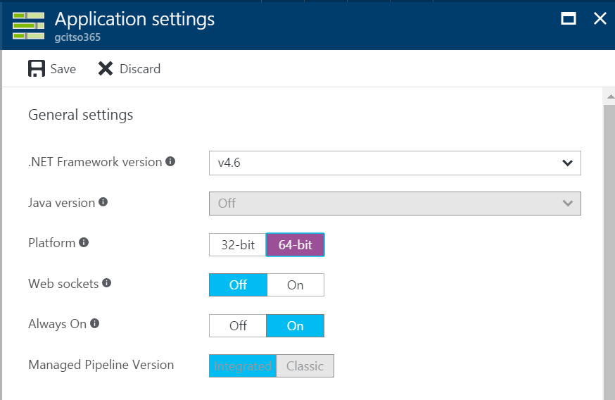 Update Azure Function Platform To 64 Bit
