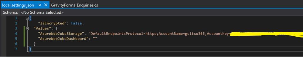 Add Azure Storage Connection String