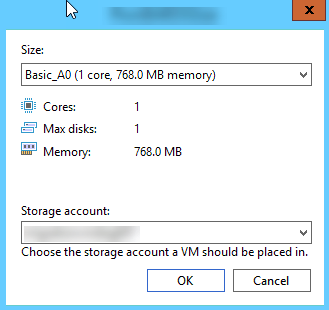 Choose Azure VM Size And Storage Account