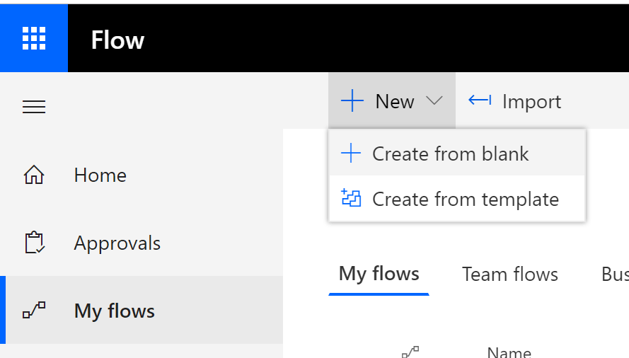 Create Flow From Blank