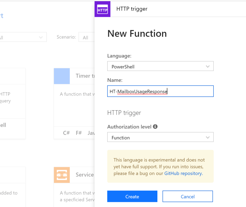 Create HTTP Triggered Azure Function