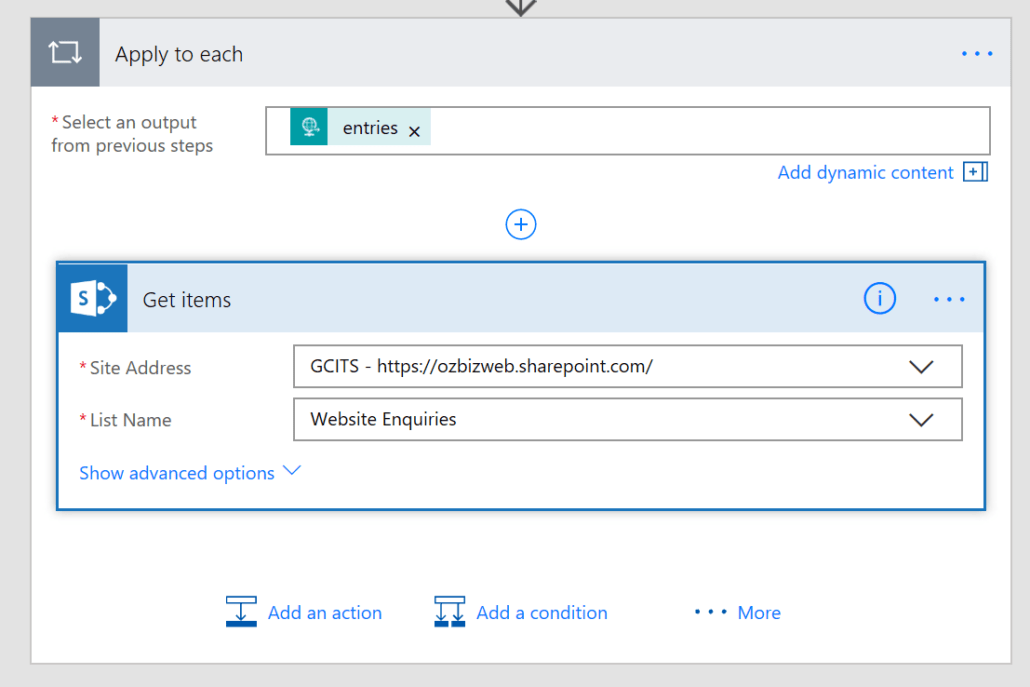 Get Items From SharePoint In Apply To Each