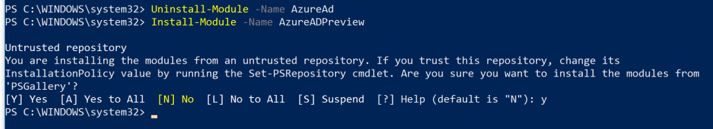 Install Azure AD Preview PowerShell Module