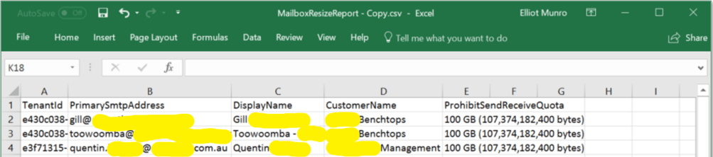Office 365 E3 Resized Mailbox Report
