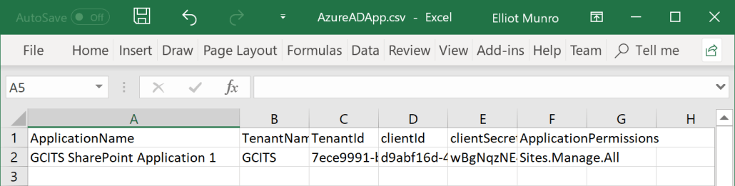 Retrieve Application Tenant ID Client ID And Secret From CSV