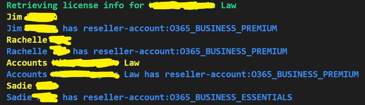 Retrieve License Info From Office 365 Customers