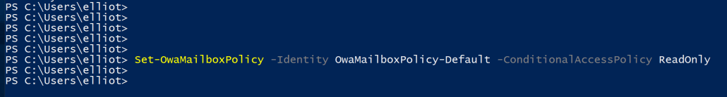 Setting OWAMailboxPolicy ViaPowerShell for Conditional Access