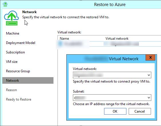 Specify Azure Virtual Network