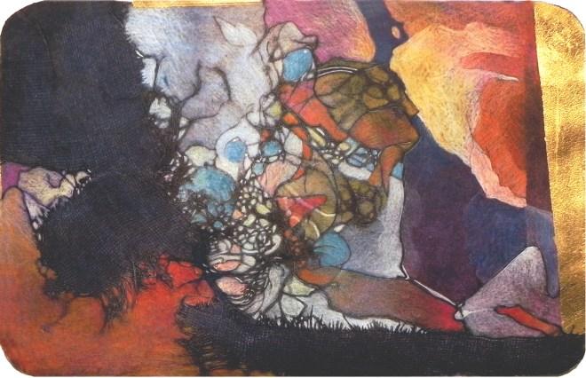 "Border Crossing, 16x10"", collagraph by Garry C Kaulitz"