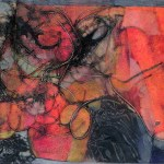 "Festival, 18x12"", collagraph by Garry C Kaulitz"