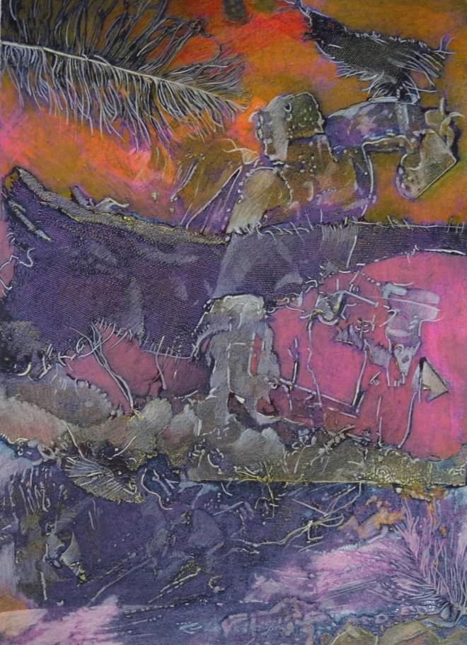 "Revelation, 12x18"", collagraph by Garry C Kaulitz"
