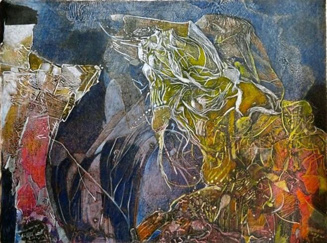 "Cuenca II, 15x20"", collagraph by Garry C Kaulitz"