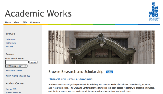 Snapshot of Graduate Center Academic Works