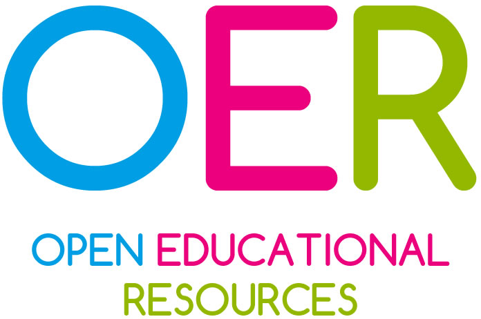 Blue, pink, and green graphic of Open Educational Resources
