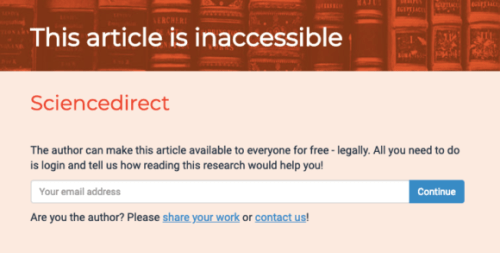 Open Access Button screen for inaccessible article