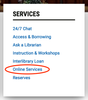 screenshot of Services column on library website