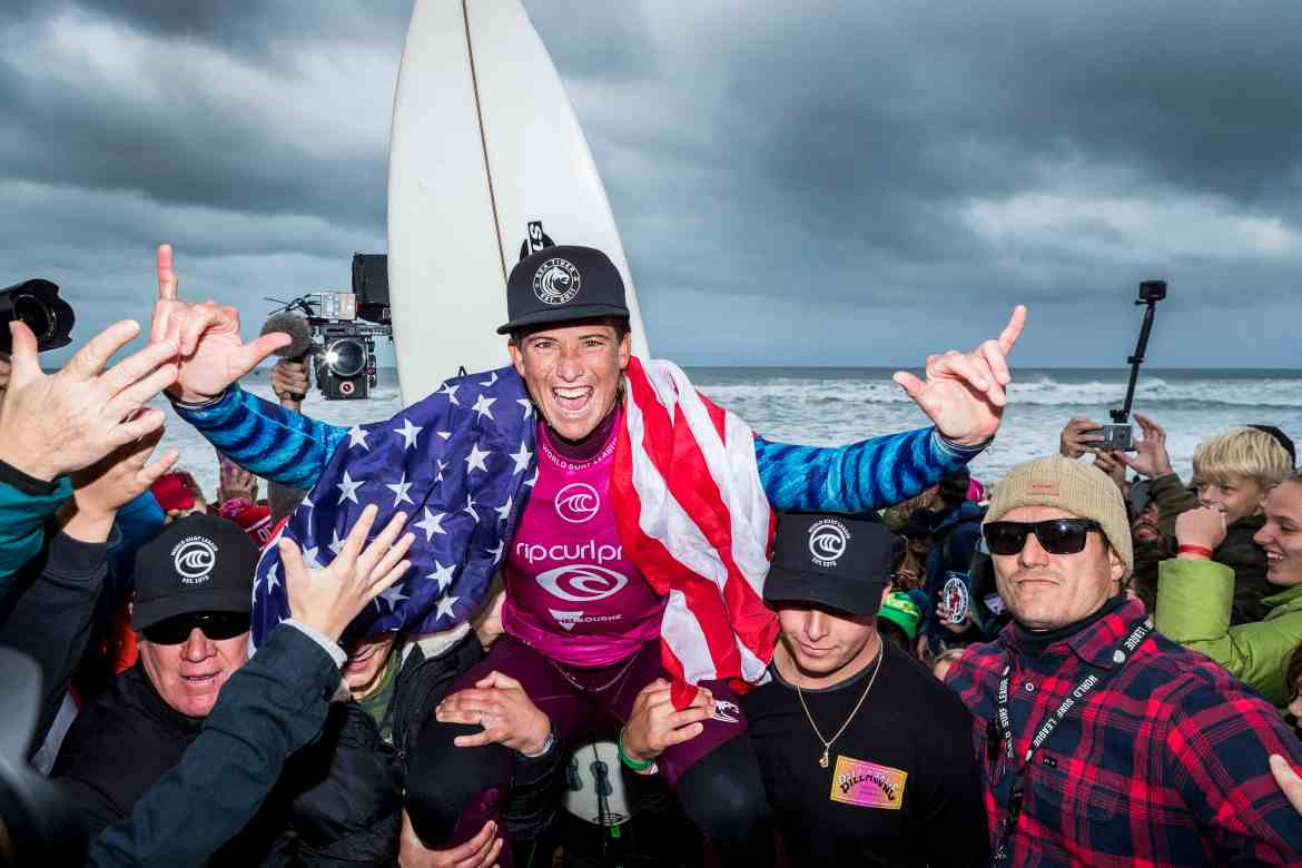 Courtney Conlogue of USA wins the 2019 Rip Curl Pro Bells Beach after winning the final at Bells Beach on April 27, 2019 in Victoria, Australia.