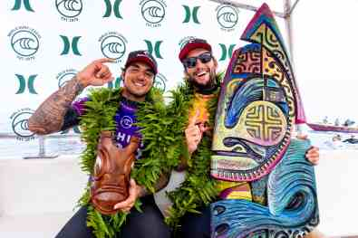 (left-right) Two-time WSL Champion Gabriel Medina of Brazil the defending event winner finishes runner-up with close friend Owen Wright of Australia winning the 2019 Tahiti Pro Teahupo'o on August 28, 2019 in Tahiti, Franch Polynesia.
