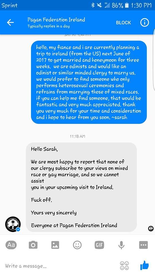 The original exchange between Pagan Ireland and 'Sarah' (via Facebook)