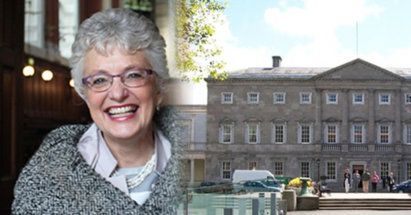 Katherine Zappone Ireland's First Lesbian Minister and the Dail Eireann on a sunny day