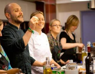 People learning to cook at Pinocchio and Italian School of Cooking