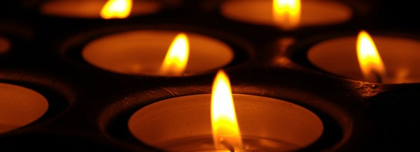 Candles on left for the Irish LGBT Vigil for Orlando Mass shooting on left, Omar Mateen