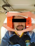 Marcin, who suffered a homophobic attack in the Phoenix Park, showing his immobilisation in the hospital