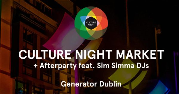 Culture night 2016 logo over Smithfield square saying culture night market and afterparty feat. Sim Simma DJs
