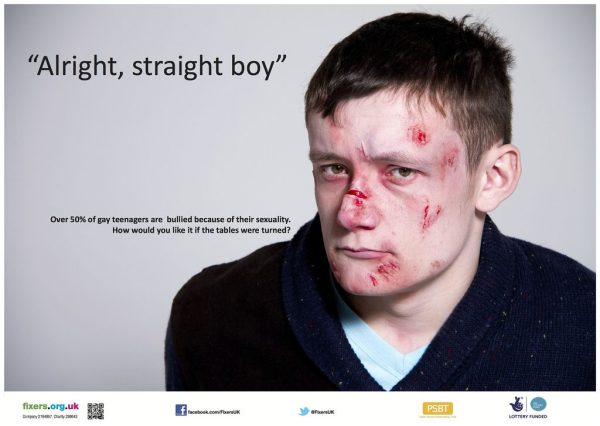 A man bloodied and bruised, with the words alright, straight boy. Reducing homophobic bullying is one of the LGBT issues that could benefit from Apple's €13b tax bill