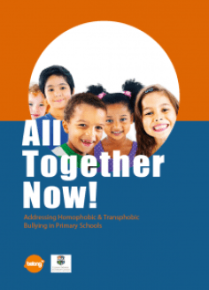 All together now poster with children smiling in it