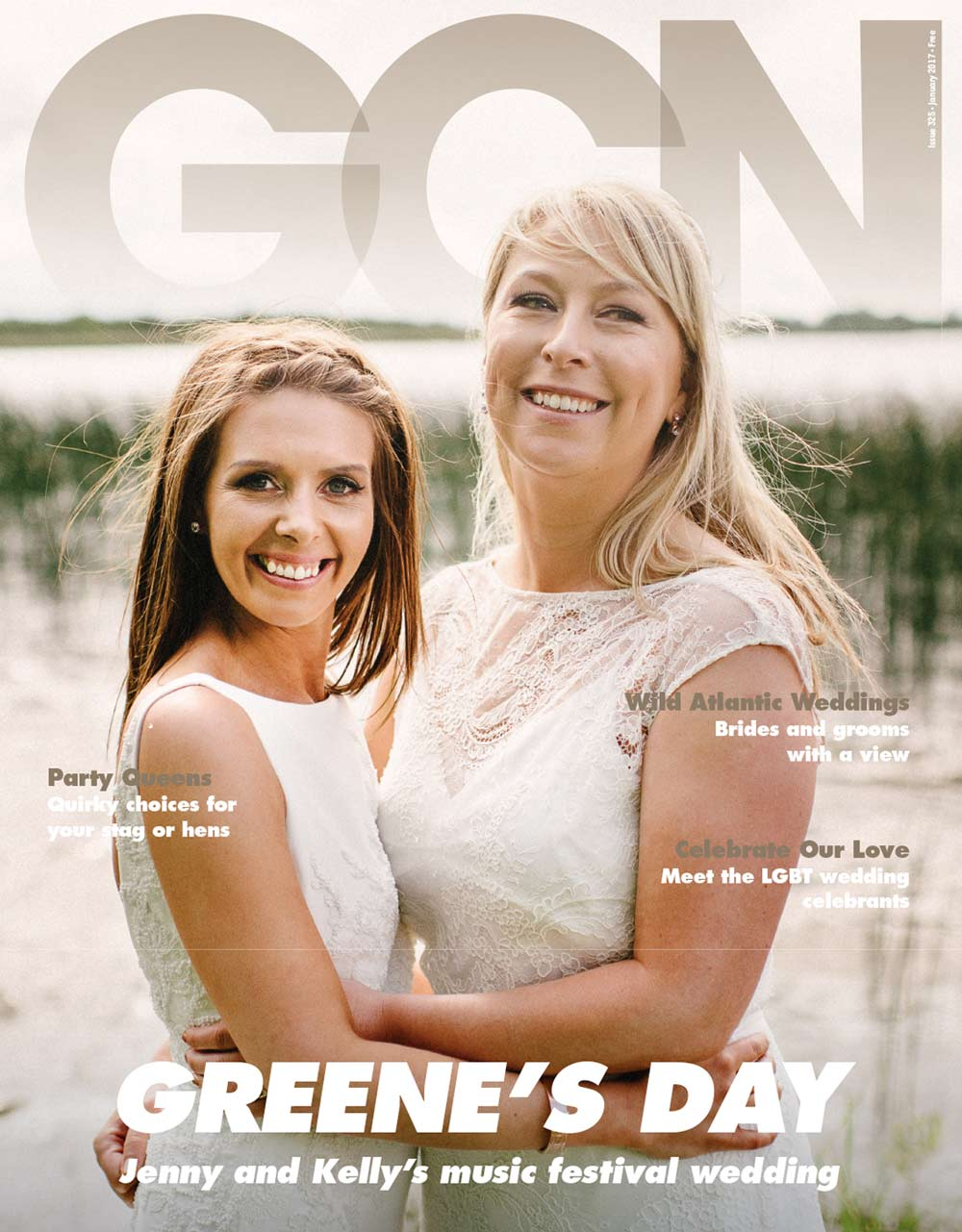 Two women (Jenny Greene and her wife Kelly Keogh) in white wedding dresses on the cover of GCN's wedding issue