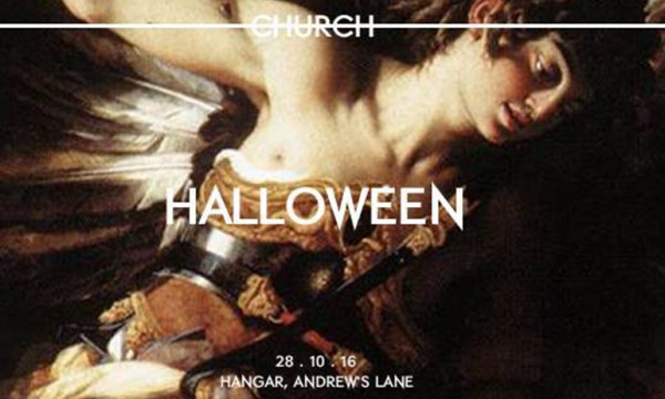A painting of a woman with the word church and Halloween written on it, which is is one of the Halloween Parties for LGBT people in Dublin