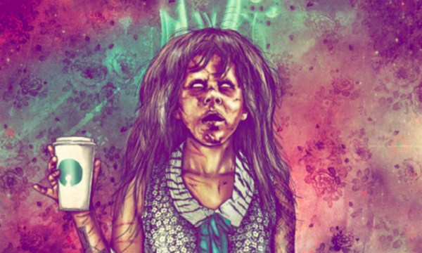 Spinster's zombie girl poster with a cartoon girl holding a cup. Spinster is one of the Halloween Parties for LGBT people in Dublin